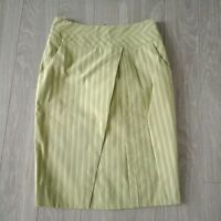 Cue Womens Skirt Pleated Stretch Knee Length Green Size 6