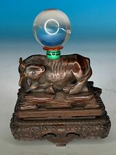 RARE CHINESE CARVED SOLID HARDWOOD ANTIQUE OX ON STAND W FENG SHUI CRYSTAL BALL