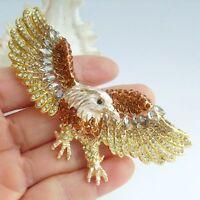 Unique Animal Bird Eagle Brooch Pin Rhinestone Crystal Pendant Art Deco EE04717