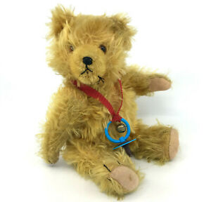 Max Hermann Teddy Bear Golden Mohair Plush 26cm 10in Squeaker 1950s Soother Bell