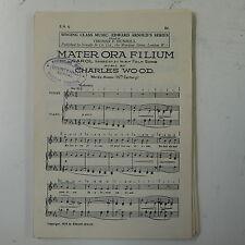 choral / vocal score MATER ORA FILIUM charles wood UNISON