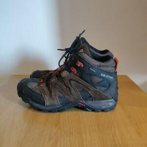 Salomon Mens Contagrip Goretex Waterproof Trail Walking Hiking Brown Boots UK 9
