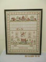 Early 20th Century Sampler by Martha Davies 1920 Alphabet People Buildings Birds