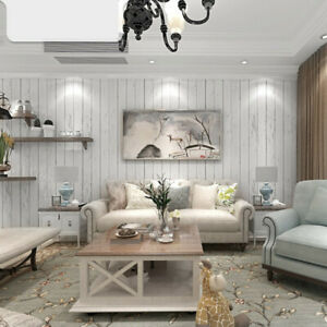 Rustic White Nature Wood Optic Panelling Timber Plank Panel Project Wallpaper