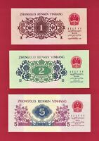 CHINA UNC NOTES 1 Yi Jiao P-877d & 2 Er Jiao P-878b 1962, & 5 Jiao 1972 (P-880c)