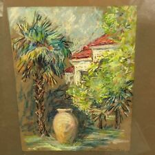 Spanish Home & Palms Pastel Painting Signed Listed Artist Ellen Thomas 1895-1972