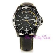 OMAX Impermeable Grueso Negro y Amarillo Deportivo Seiko Movimiento De Cuero Reloj OAS185