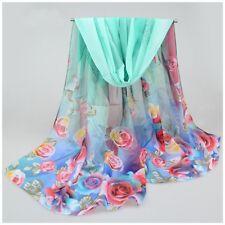 destockage foulard écharpe neuf mousseline de soie vert fleurs plumes
