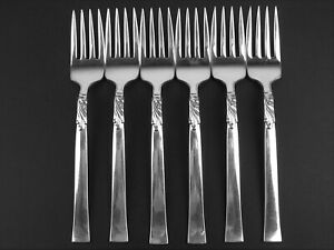 Set 6 x Salad Forks Oneida Nobility Wind Song 1955 vintage silverplate Windsong