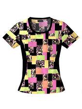 Black/Colourful Stretch Tunic, Salon, Spa, Therapist, Workwear, Uniform, Health