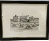 Original Pencil Drawing Amish Country Farm Barn Horse Buggy Framed Signed Jo Ko