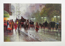 G Harvey CABBIES ON 5TH AVENUE Lithograph Signed Numbered Limited Edition Print