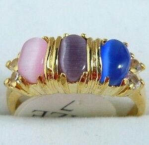 Multi-Color Pink Purple Blue Opal 18KGP Crystal Ring Women Lady Girl Size: 7.8.9