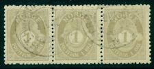 Norway #47a (65) 1ore Knudsen Printing, p. 13 ½ x 12, Strip of 3, used, Vf