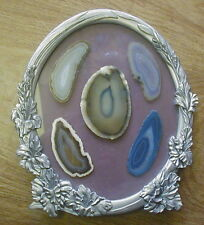 ROCK PICTURE ART IN OVAL PEWTER & GLASS FRAME