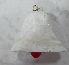 Vintage Composite White Paper Mache Mica Glitter Bell Ornament Red Clapper Japan