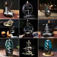 Ceramic Glaze Waterfall Backflow Smoke Incense Burner Censer Holder + Cones Home