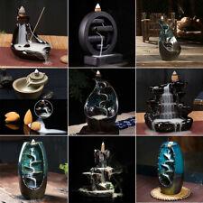 New Ceramic Smoke Backflow Incense Burner Holder Censer Sandalwood With 50 Cones