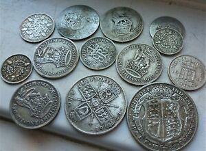 LOVELY LOT OF 13 x  BRITISH SILVER COINS  GEORGE V & VI PRE 1947