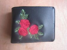 TOPMAN BLACK ROSE EMBROIDERED BIFOLD WALLET 11.5 x 9cm RRP £20**NEW FREE P&P**
