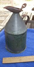 Old FRENCH Tin LIDDED Oil? PITCHER-Signed-Green Paint-NR