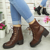 Womens Ankle Boots Ladies Lace Up Casual Heel Boot Comfy Zip Fashion Work Shoes