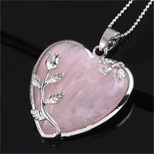 Natural Heart Healing Mineral Gemstone Pendant Chakra Reiki Necklace Jewelry