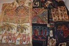 (2) Tori Richard Cotton Lawn Elephant Tiki Tropical Tribal Hawaiian Thin M Shirt
