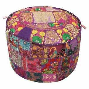 Cotton Fabric Embroidered Patchwork Home Decor Round Ottoman Pouf Cover