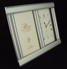 "Aluminum Photo Frame Desk Clock CL-136, Inovative Design, Holds 4"" x 6"" Picture"