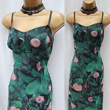 Karen Millen Vintage Green Floral Rose Print Cocktail Grace Bodycon Dress 10 UK