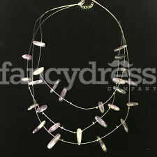 Ladies Silver Bead Purple Lilac Beaded Necklace Costume Jewellery NEW Gift
