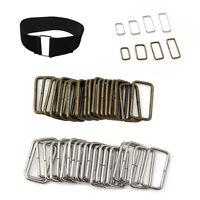 20pcs Belt Bag Buckles Metal Wire Rectangle Ring Loops Strap Adjuster DIY