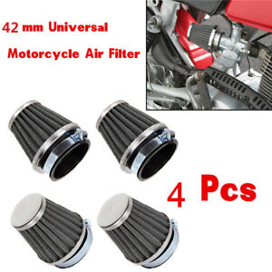 Black 4Pcs 42mm Inlet Cold Air Intake Tapered Air Filters Cleaner For Motorcycle