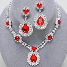 Red Crystal Rhinestone Prom Wedding Bridal Formal Earrings Necklace Set