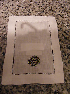 "New Sferra White Herald Linen Cocktail Napkin 6"" x 9""/Gold & Black Embroidery"