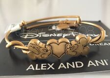 ALEX AND ANI Disney Mickey & Minnie Mouse Kissing Heart BRACELET Gold New W Tags