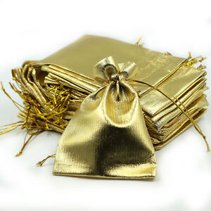 100 Gold Stain Organza Jewelry Gift Wedding Favors Sheer Bags Pouch 7*9 CM