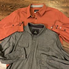 Lot Of 2- Prana Marmot Mens Flannel Button Front Shirts Size L Large Long Sleeve