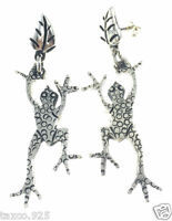 TAXCO MEXICAN 925 STERLING SILVER JUMPING FROG LEAF EARRINGS MEXICO
