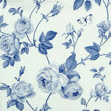 4x Paper Napkins -Rambling Rose Blue- for Party, Decoupage