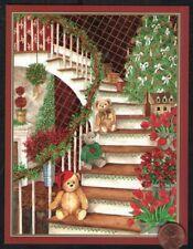 Caspari Vintage Teddy Bears Staircase Tree - Gold Shine Christmas Greeting Card