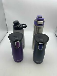 LOT OF 4 CONTIGO AUTOSEAL STAINLESS STEEL  TRAVEL MUGS