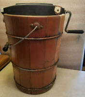 "Vintage 4 Quart Wooden Ice Cream Maker Freezer Hand Crank 16"" Tall Antique"