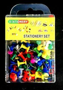 100 Push pins mix colour notice cork felt board map flag desk thumb tack drawing