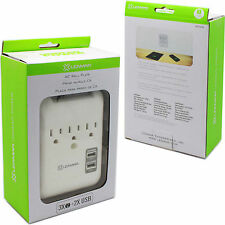 Lenmar WP3234 AC Wall Plate Adapter & Surge Protector-3 AC-Outlets & 2 USB Ports