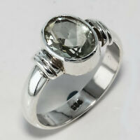 GREEN AMETHYST NATURAL GEMSTONE 925 STERLING SILVER HANDMADE JEWELRY RING 3 TO12