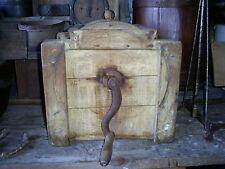 Antique Wood Barrel Butter Churn Hand Crank Original Oyster Paint - Working