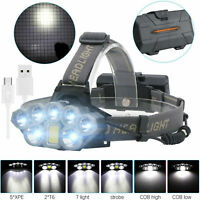 120000LM T6 8xLED Headlamp Rechargeable Head Light Flashlight 18650 Torch Lamp L