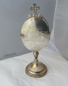 MONSTRANCE EUCHARISTIC HOST BOX WITH LUNA HOLDER PYX SILVER BRASS PLATED 1930's
